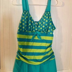 Teal & lime green polka dot & striped bathing suit